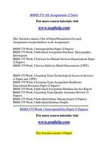 BSHS 375 Endless Education /uophelp.com