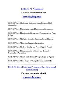 BSHS 385 Endless Education /uophelp.com