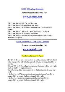 BSHS 406 Endless Education /uophelp.com