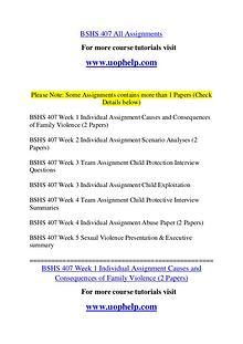 BSHS 407 Endless Education /uophelp.com