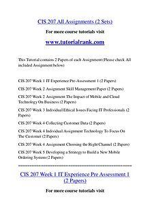 CIS 207 Course Great Wisdom / tutorialrank.com