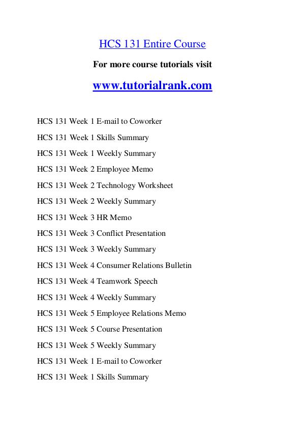 HCS 131 Course Great Wisdom / tutorialrank.com HCS 131 Course Great Wisdom / tutorialrank.com