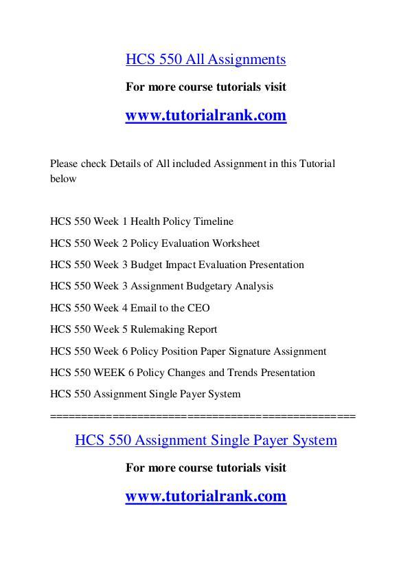 HCS 550 Course Great Wisdom / tutorialrank.com HCS 550 Course Great Wisdom / tutorialrank.com
