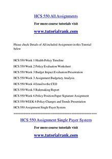HCS 550 Course Great Wisdom / tutorialrank.com