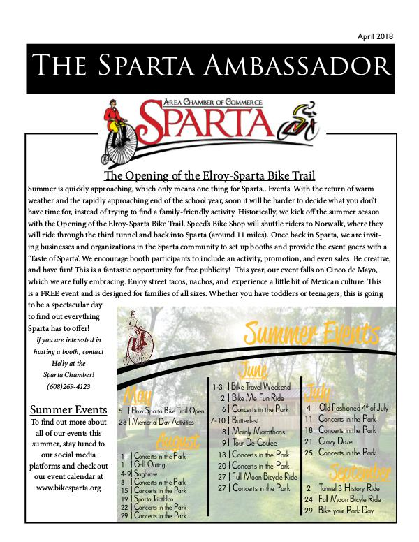 Sparta Area Chamber of Commerce Newsletter April