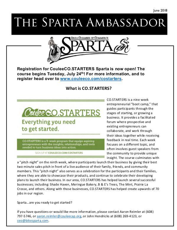Sparta Area Chamber of Commerce Newsletter June 2018
