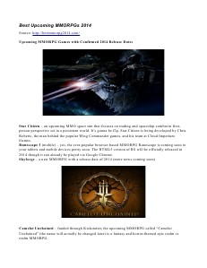 Best Upcoming MMORPGs 2014 July 2013