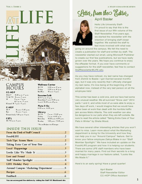 Life University Staff Council Newsletter Volume 5 Issue 1