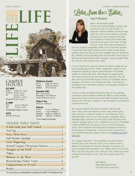Life University Staff Council Newsletter Volume 5 Issue 2