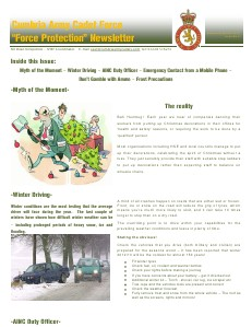 Cumbria ACF - Force Protection Newsletter December 2012