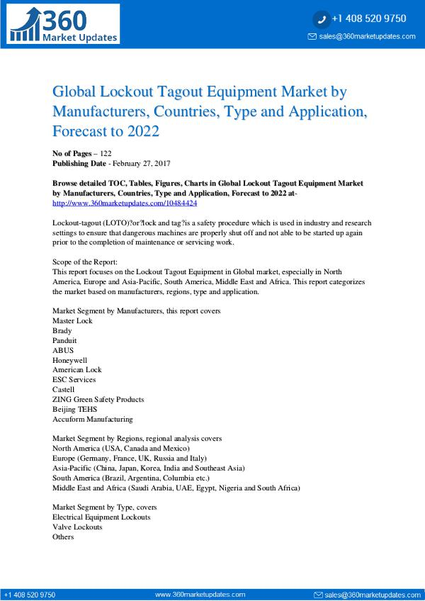 Market Research Reports Lockout Tagout Equipment Market