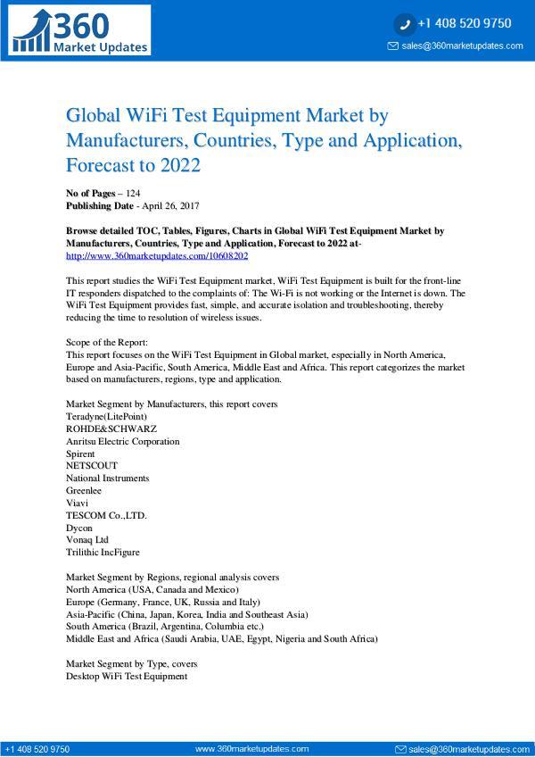 Reports- WiFi Test Equipment Market Analysis