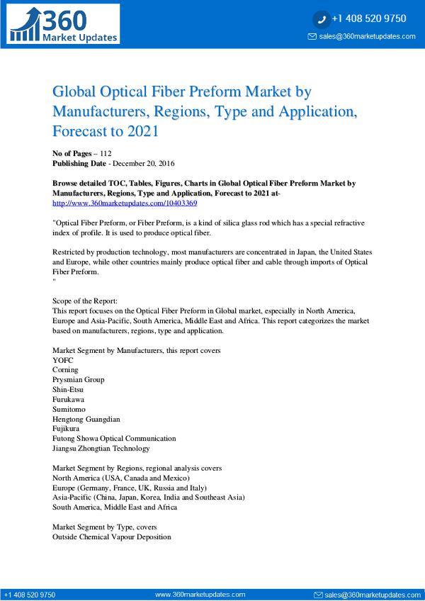 Reports- Optical Fiber Preform Market Analysis
