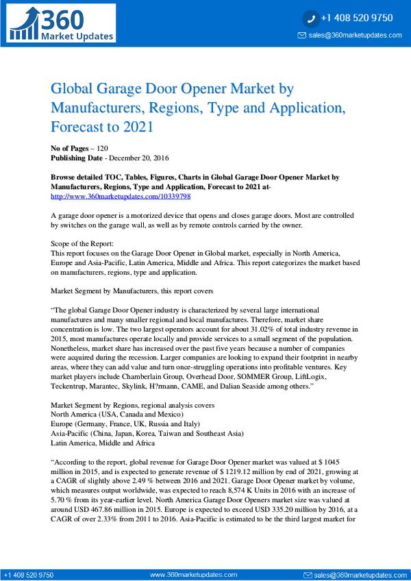 Reports- Garage Door Opener Market Growth
