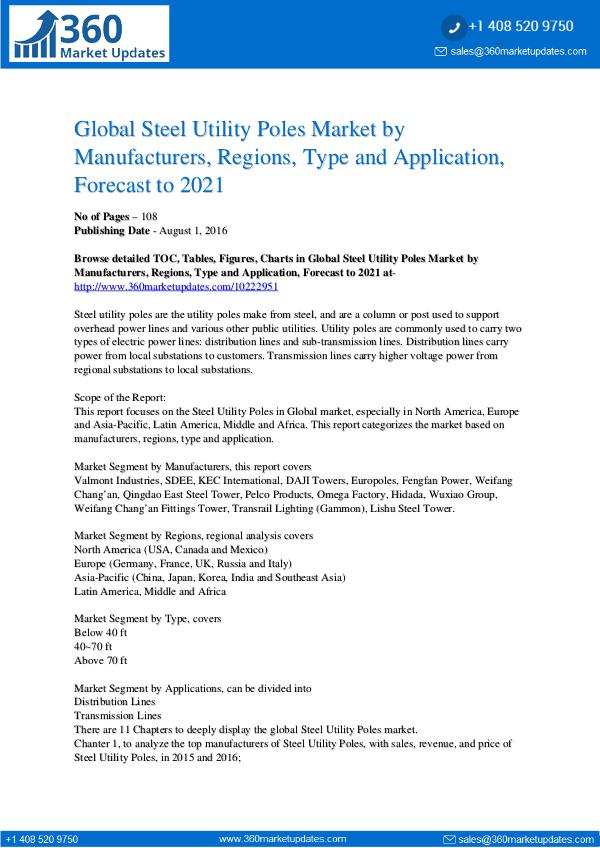 Reports- Steel Utility Poles Market Overview