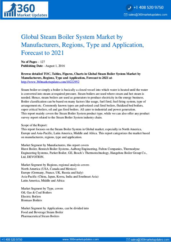 Reports- Steam Boiler System Market Outlook 2021