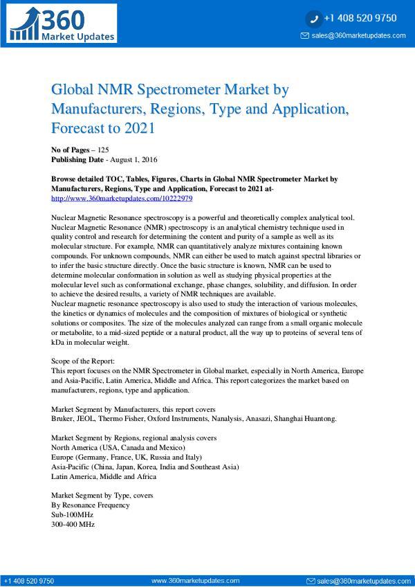 Reports- NMR Spectrometer Market