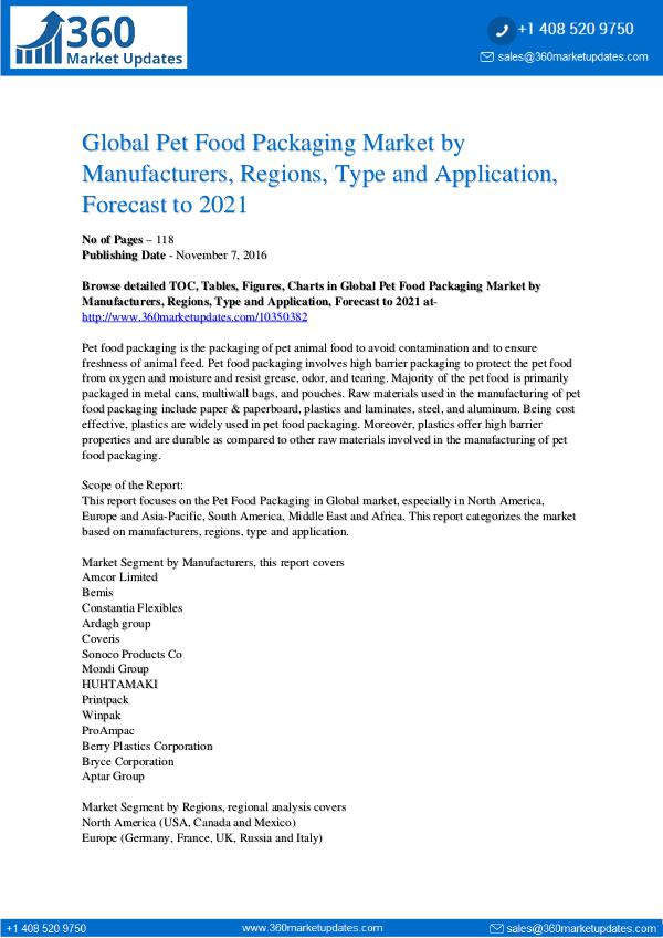 Reports- Pet Food Packaging Market Development,