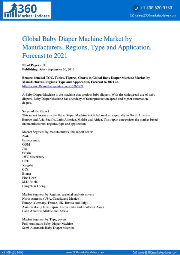 Reports- Baby Diaper Machine Market Research