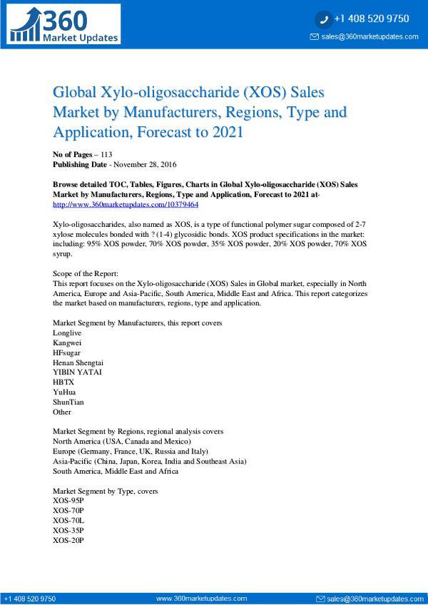 Reports- Xylo-Oligosaccharide Market