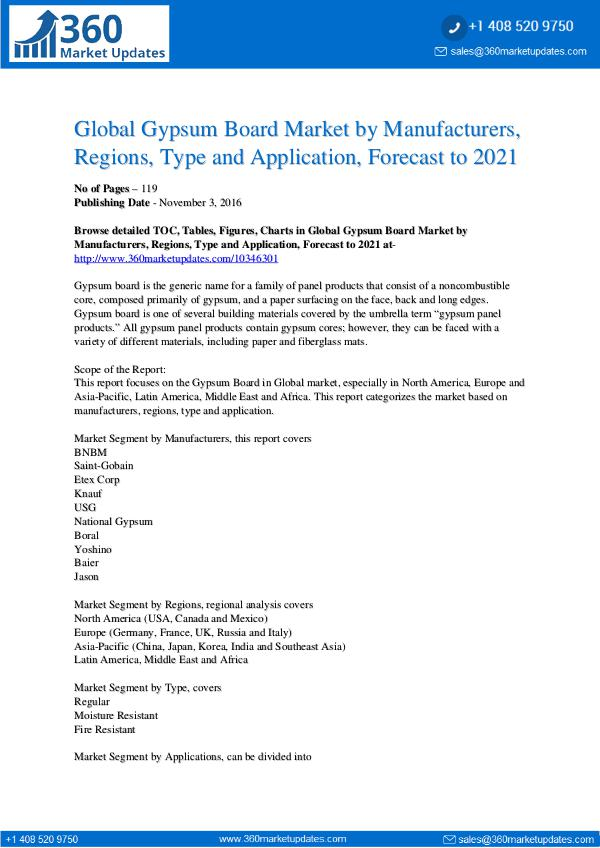 Reports- Gypsum Board Market