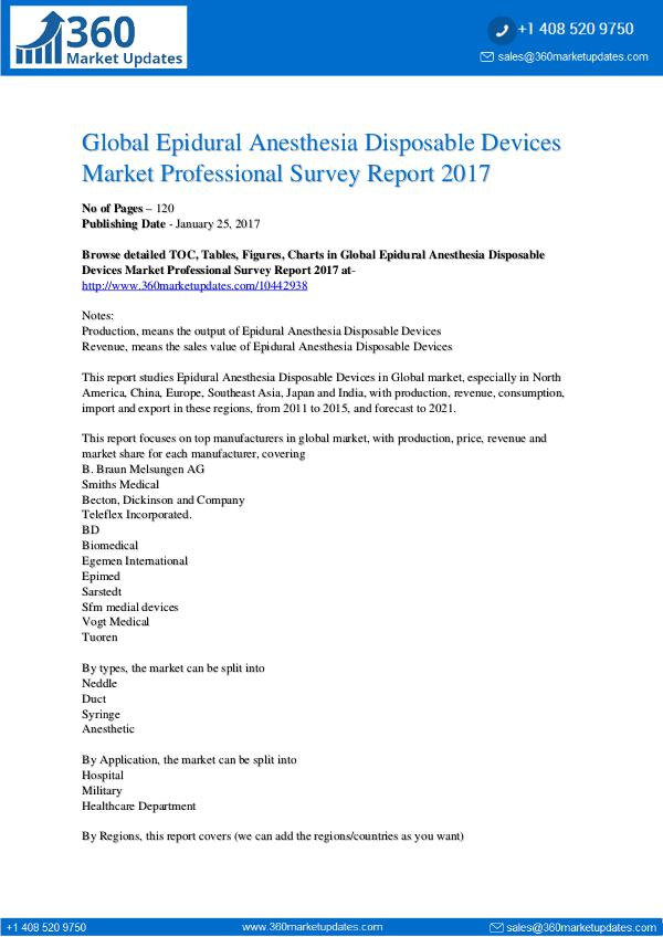 Reports- Epidural Anesthesia Disposable Devices Market