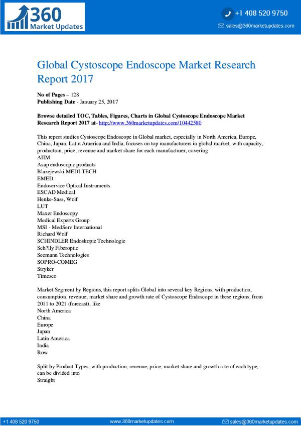 Reports- Cystoscope Endoscope Market Research