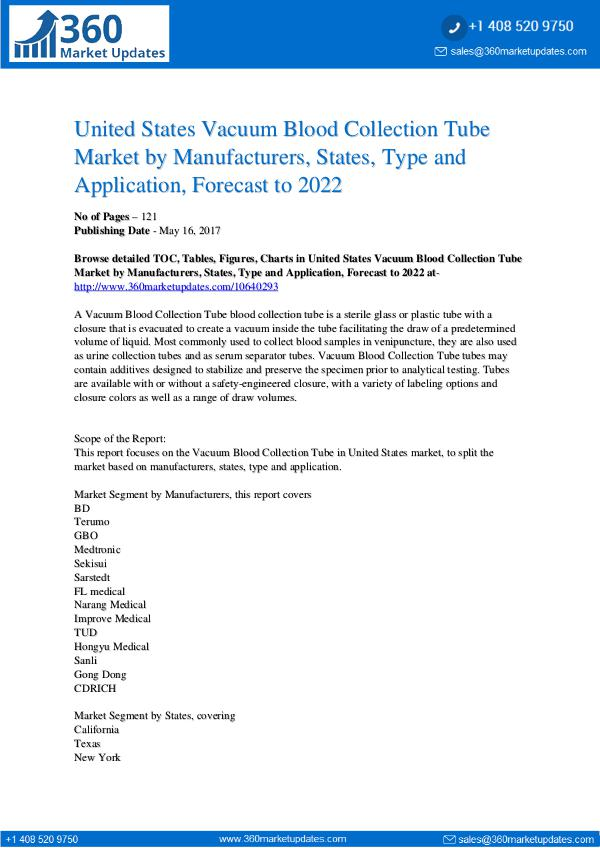 Reports- Vacuum Blood Collection Tube Market