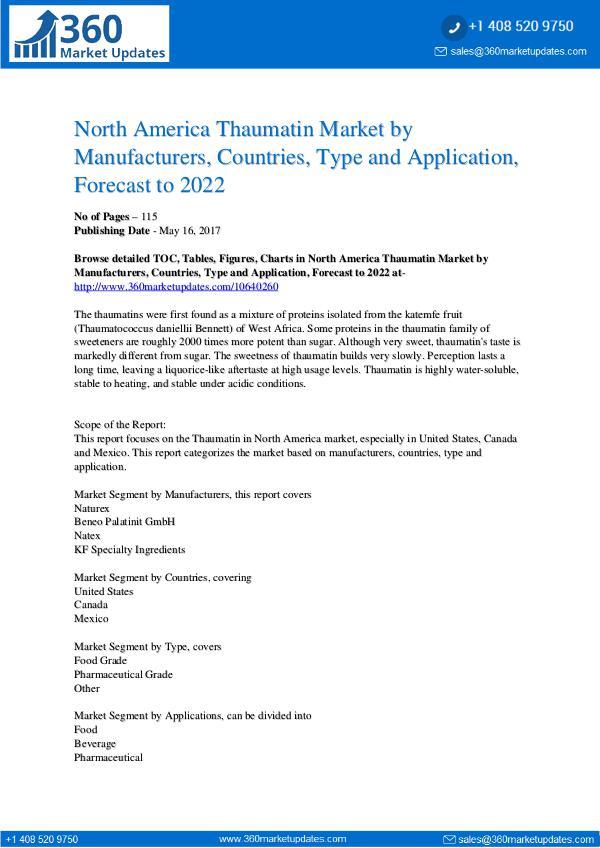 Reports- Thaumatin Market Research