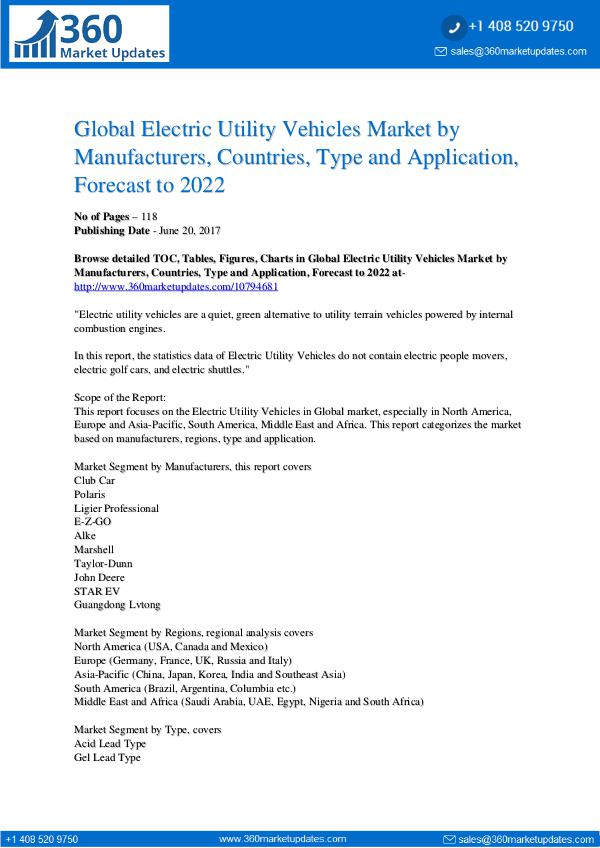 Reports- Electric Utility Vehicles Market Analysis