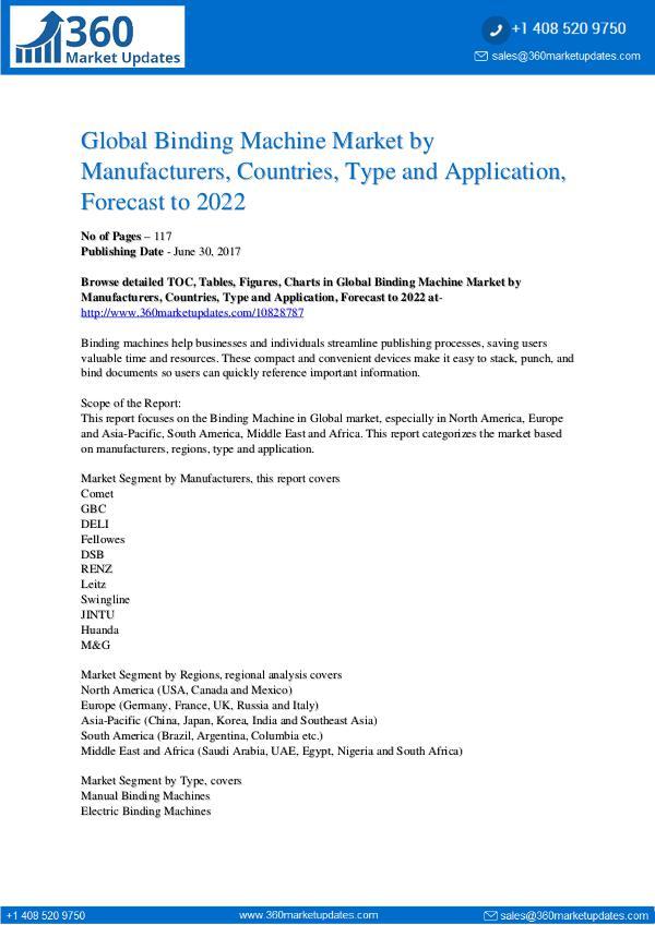 Reports- Binding Machine Market