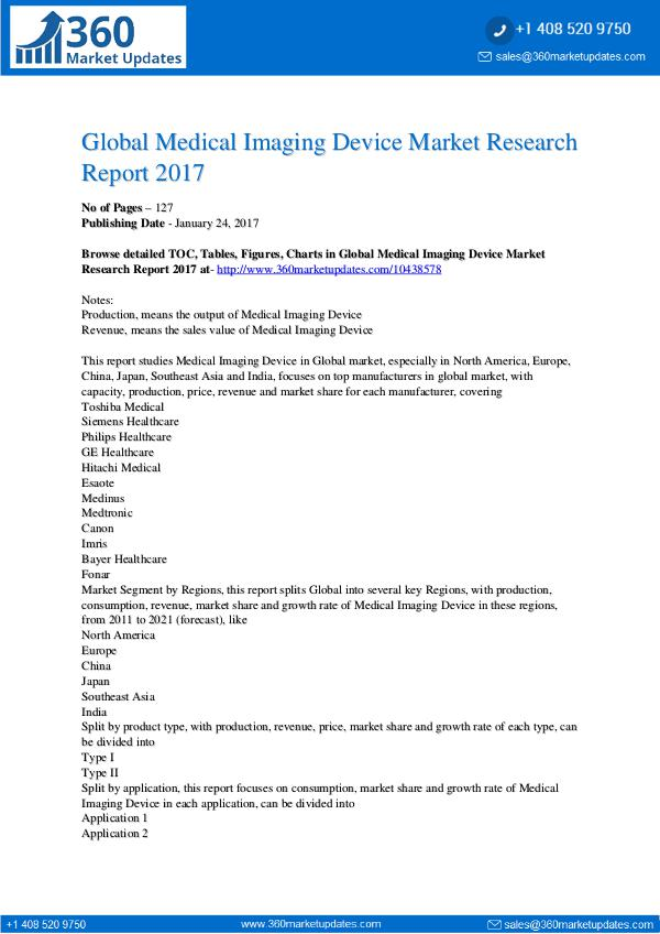 Reports- Medical Imaging Device Market Trends