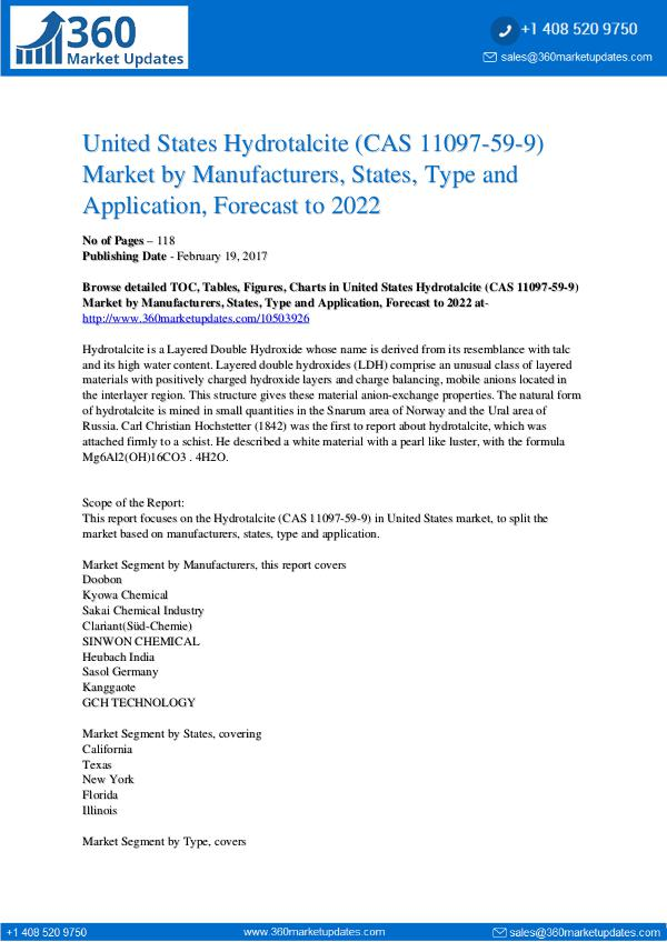 Reports- Hydrotalcite (CAS 11097-59-9) Market