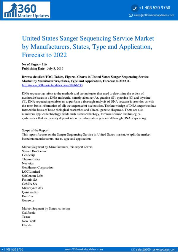 Reports- Sanger Sequencing Service Market