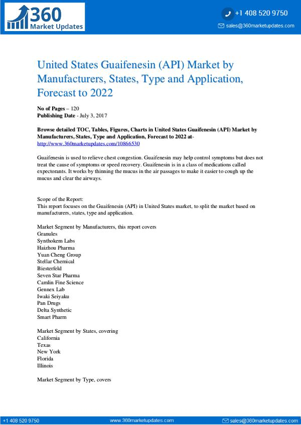 Reports- Guaifenesin (API) Market
