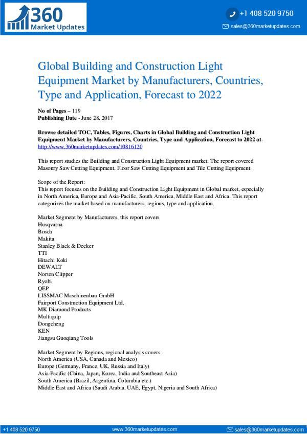Reports- Building and Construction Light Equipment Market