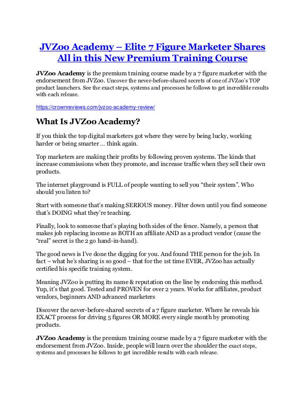 JVZoo Academy review-$16,400 Bonuses & 70% Discoun