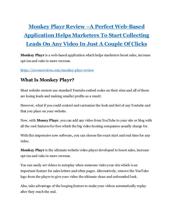 Monkey Playr review - Monkey Playr (MEGA) $23,800