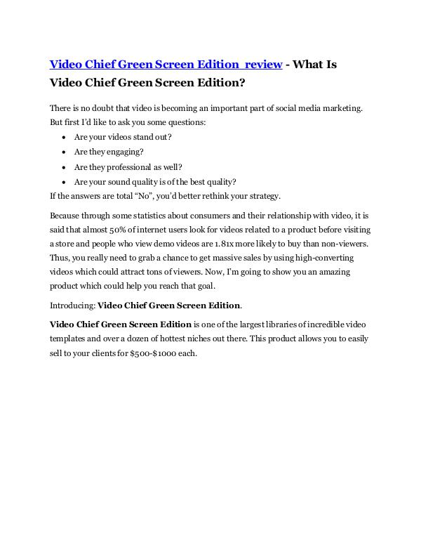 Video Chief Green Screen Edition Review -(FREE) $3