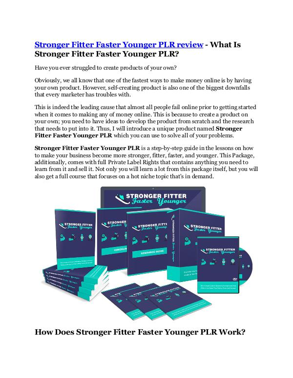 MARKETING Stronger Fitter Faster Younger PLR review-$26,800