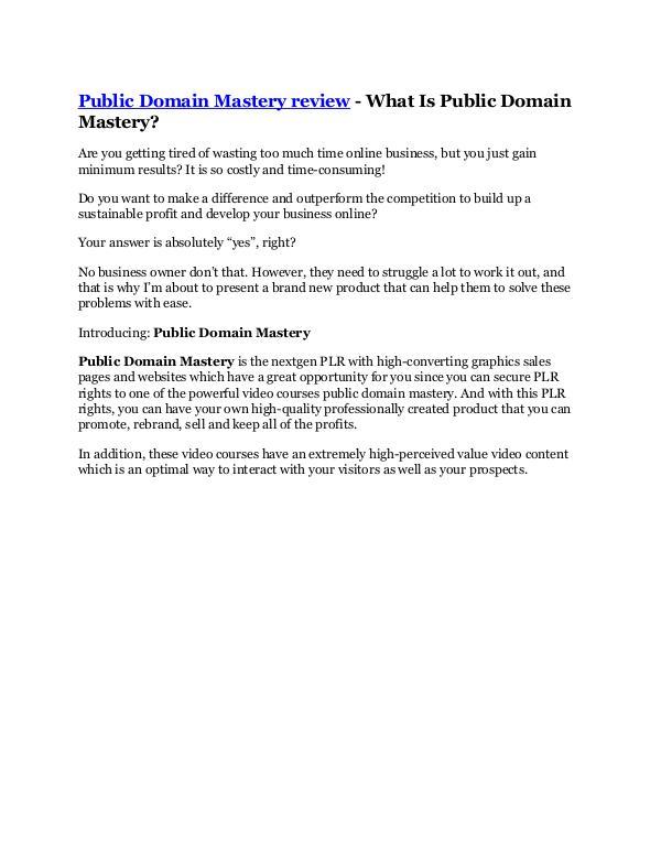 Public Domain Mastery Review & HUGE $23800 Bonuses