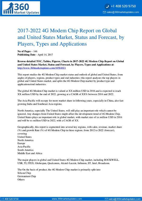 Global & US 4G Modem Chip Market 2022 Global & US 4G Modem Chip market
