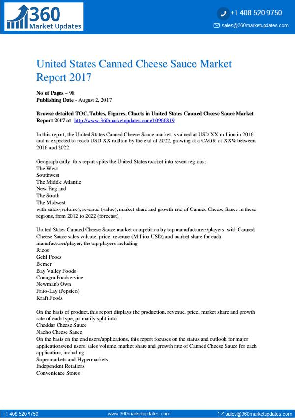 My first Magazine Canned-Cheese-Sauce-Market-Report-2017