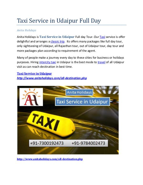 Taxi Service in Udaipur Full Day Taxi Service in Udaipur Full Day