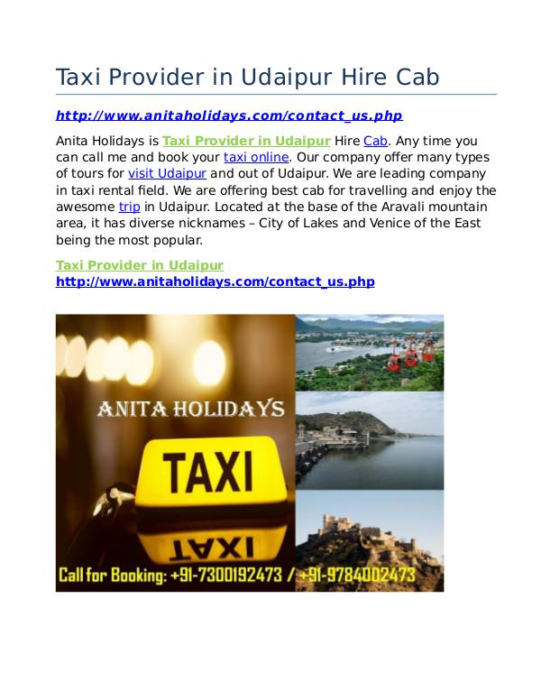 Taxi Provider in Udaipur Hire Cab Taxi Provider in Udaipur Hire Cab