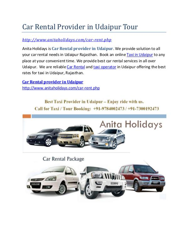 Car Rental Provider in Udaipur Tour