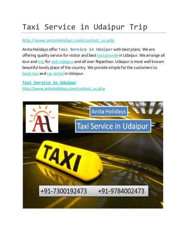 Udaipur Taxi Service Taxi Service in Udaipur Trip