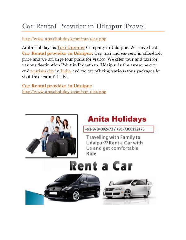 Car Rental provider in Udaipur Travel
