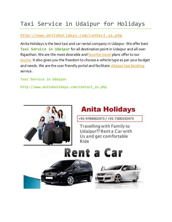 Taxi Service in Udaipur Full Day Taxi Service in Udaipur for Holidays