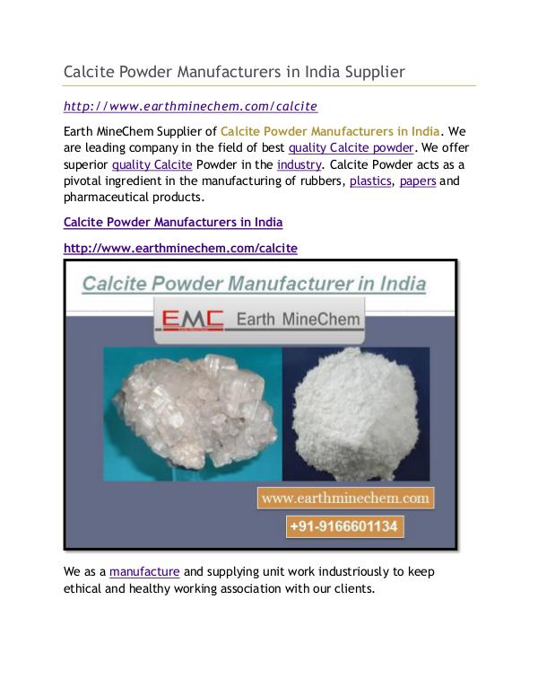 Calcite Powder Manufacturers in India Supplier